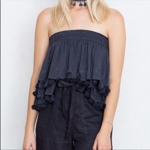 Chan Luu Strapless Top with Pom Poms and Tassles